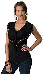 Rancho Estancia� Womens Black Fringe with Wooden Beads V-Neck Sleeveless Fashion Top