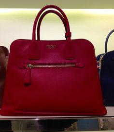 Gorgeous Prada perfect red fall tote!