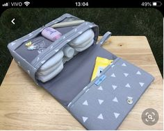 Mini triangle diaper bag organizer gift for new parents grey Diaper Bag Organization, Diaper Clutch, Gifts For New Parents, Baby Wipe Case, Diy Bebe, Diy Bags Purses, Baby Sewing Projects, Baby Kit, Pencil Bags