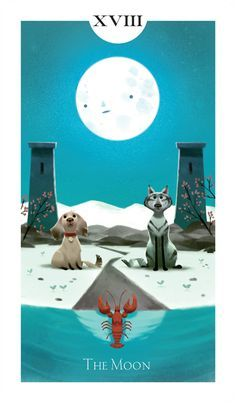 "Tarot Card ""TheMoon"" by Romain Mennetrier Great, really made me smile :)"