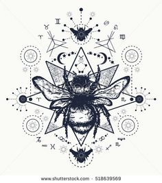Bee tattoo art. Hand drawn sketch of bumblebee. Bee tattoo sketch mystical symbols