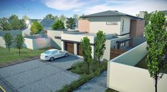 4 Bedroom Contemporary House Plan - CN444AW - Plans123 Contemporary House Plans, Contemporary Bedroom, Building Costs, Building Design, Built In Braai, National Building, Roof Overhang, Entrance Foyer, Concrete Tiles