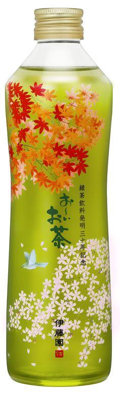 緑茶飲料発明30年記念 第二弾 「 伊藤園 お~いお茶 瓶入り緑茶 」美しい日本の四季が描かれたオリジナルガラスボトル。2014年デザイン