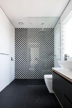 black white and grey bathrooms. Large Open Shower Des Salles De Bain  Black And White Bathroom Tiling Mad