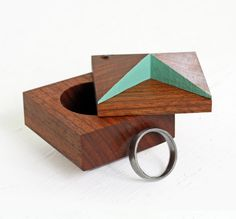 Pixie - faceted ring box made from salvaged Caribbean Rosewood. $75.00, via Oh Dier on Etsy.