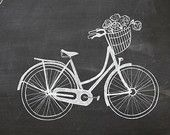 Spring Decor -- Chalkboard Art Print -- Vintage Bike with Flower Basket -- Hand Drawn Bycicle Illustration, Bycicle Art # Chalkboard Art Quotes, Chalkboard Decor, Chalkboard Drawings, Chalkboard Designs, Chalkboard Lettering, Gifts For Photographers, Square Photos, Coffee Art, Chalk Art