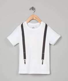 Take a look at this White Suspenders Tee - Toddler & Boys by Soft Clothing on #zulily today!