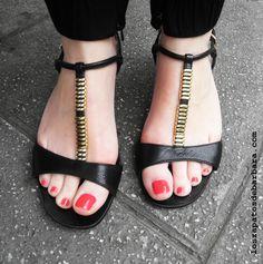 Black & low wedge black sandals
