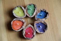 Candles using walnut shells, too cute. Something for little hands to make when they want to help prepare for storm season.