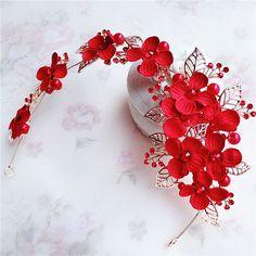 Корейский красный свадебный головной убор цветок волосы группы аксессуары для волос алмазов золотой лист оголовье корону платье с драгоценностями - Taobao