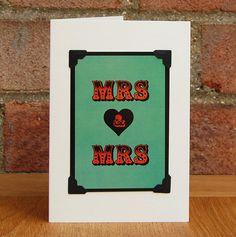 Mrs & Mrs £3 #greetingscards #typography #digitaldesign #handmade #weddingcard #mrsandmrs #civilceremonycard