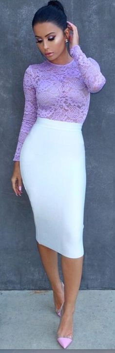 #style #spring2016 #inspiration | Lavender Lace Top + White pencil Skirt | Amrezy