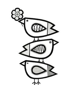 Birds at play silk screen print by Jane Foster