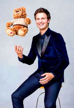 Our Little Brown Bear made a new friend — Ansel Elgort! This holiday, join Ansel and  in supporting the mental health of children. Proceeds from the bear benefit the Child Mind Institute. (CC: Photo by Sophie Elgort) Best Young Actors, Ansel Elgort, Baby Driver, Tfios, The Fault In Our Stars, Cute Actors, Hollywood Actor, Celebs, Celebrities