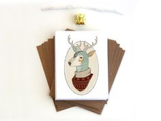 Oh Deer Christmas Card Box Set of 8, holiday greetings, Ugly Christmas Sweater, blank, note cards, hostess gift, reindeer, Cyber Monday Etsy. $14.00, via Etsy.