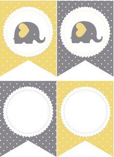 Baby Shower Elefantito - Banderines - Kit para imprimir gratis - m. Baby Shower Checklist, Baby Shower Advice, Baby Shower Cards, Baby Shower Themes, Baby Shower Gifts, Baby Shower Cupcake Toppers, Baby Shower Cupcakes, Baby Shower Backdrop, Baby Shower Balloons