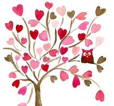 Owl on Hearts Tree 16X11 Archival Print of  original watercolor. Personalized, limited edition, girly, baby girl, nursery decor, pink brown. $30.00, via Etsy.