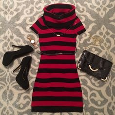 NWOT Striped Cowl Neck Sweater Dress Cute red and black striped sweater dress that has two front pockets. Pairs cute with a belt, statement necklace, tights and boots! This is brand new and has never been worn! Please note that the belt and necklace are not included :) INC International Concepts Dresses