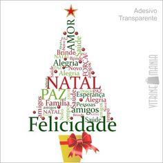 Adesivo de Vitrine de Natal Árvore da Alegria