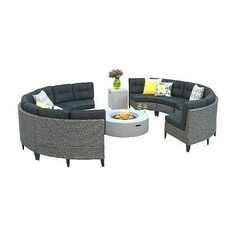 the tank holder also functions as an end table. The sectionals are made of polyethylene wicker and topped with polyester. Resin Wicker Patio Furniture, Wicker Sofa, Couch Cushions, Couch Furniture, Patio Furniture Sets, Sofa Bed, Sectional Sofa, Outdoor Fire Pit Table, Outdoor Sofa Sets