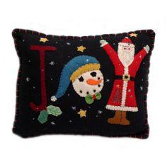 """JOY"" Holiday Small Pillow - Wool Felt Applique"