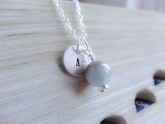 Personalised necklace  Sterling Silver and Amazonite by SilverZoo