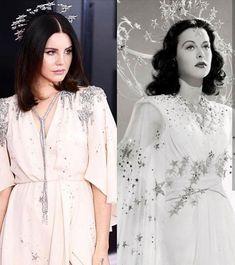 "Lana Del Rey, 60th annual Grammy Awards (2018) // Hedy Lamarr, ""Ziegfeld Girl"" (1941) #LDR Runway Fashion, Boho Fashion, Vintage Fashion, Fashion Design, Ziegfeld Girls, Celebs, Celebrities, Celebrity Hairstyles, Halloween Outfits"