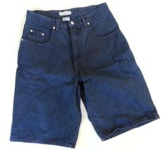 VINTAGE 90s Men's 30 Dark Blue GUESS JEANS Shorts Green Guess Triangle Tag Logo #GUESS #Denim