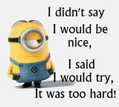 At least you tried little guy.at least you tried. Funny Minion Memes, Minions Quotes, Funny Jokes, Hilarious, Minion Humor, Funny Signs, Funny Emoticons, Whatsapp Dp, Minion Pictures