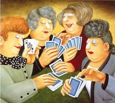 """A Full House::: """"There are 'Ladies who Lunch' and there are ladies who enjoy a little 'retail therapy', but these ladies prefer something a little more exciting. Dressed in their smartest outfits & wearing their best hairdo & makeup they are really enjoying their weekly game of cards. I wonder if there might be some cheating going on at the back or maybe all those long sleeves are concealing more than jewelery as they all seem confident. Perhaps it's because they've all got a winning hand!"""""""