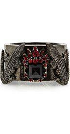Such great hardware and details! Roberto CavalliRhodium-plated Swarovski crystal alligator cuff
