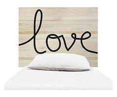 Testiera letto in legno Love naturale e nero