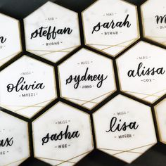 Hexagon Marble Tile Escort Cards with Gold Detail | Carrara White Italian Marble