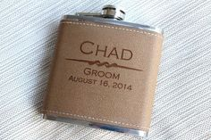 Wedding Favors, Personalized Leather Flask