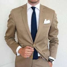 2017 Custom Made Khaki Champagne Groom Tuxedos 2 Piece Mens Wedding Prom Dinner Suits Best Man Groomsman Suit Jacket+Pants Terno Dress Shirt And Tie, Suit And Tie, Best Suits For Men, Mens Suits, Tan Suit Men, Tan Suit Groom, Tan Groomsmen Suits, Brown Suits For Men, Fashion Mode