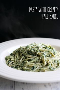 A delicious dinner idea - pasta with creamy kale sauce. Gluten free, dairy free, and vegan. #vegan