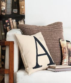 Cool knitted and linen pillows by H M Home