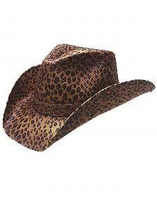 Peter Grimm Rowdy Leopard Print Straw Cowgirl Hat Western Cowboy Hats 52b928181840