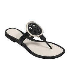 23cef13b4449 Tory Burch Black   White Miller Fringe Sandals Size US 7.5 Regular (M