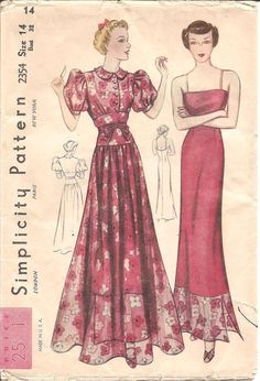 1930s Womens Dress and Slip Vintage Sewing Pattern by ErikawithaK