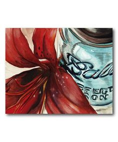 Look what I found on #zulily! Ball Jar Flower II Wrapped Canvas #zulilyfinds
