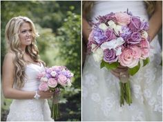 bride with pink and purple rose wedding bouquet