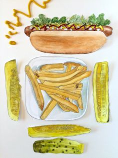 This printable hot dog watercolor clip art was created from my original hand painted illustrations. The idea was born from my love of pen pals,