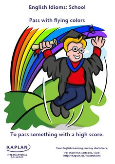 Idioms: Pass with flying colors English Idioms, English Words, English Lessons, English Vocabulary, English Grammar, Idioms And Phrases, Sayings And Phrases, English Language Learning, Teaching English