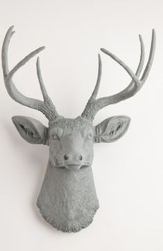 The Geoffrey | Stag Deer Head | Faux Taxidermy | Grey Resin