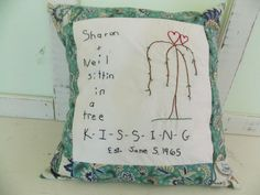Items similar to Custom Hand Embroidered Wedding or Anniversary Pillow Case on Etsy Pillow Forms, Pillow Inserts, Embroidered Pillows, Big Pillows, Custom Pillow Cases, Wedding Pillows, Feather Pillows, Cotton Sheets, Vintage Cotton