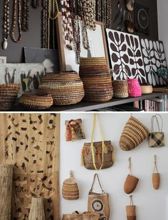 Designer Liane Rossler's artfully displayed collection of woven baskets and beads.