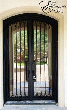 Custom wrought iron door with narrow stile and hardware notch. Modern Entry Door, Entry Doors, Home Wine Cellars, Wrought Iron Doors, Double Doors, Kitchens, Hardware, House Design, Steel