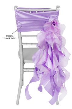 Taffeta and Curly Willow Chair Sash in Lilac available at OC Brides. Low Beach Chairs, Stokke High Chair, 90 Round Tablecloths, Burlap Chair, Curly Willow, Wedding Decorations On A Budget, Chair Sashes, Victorian, Ties