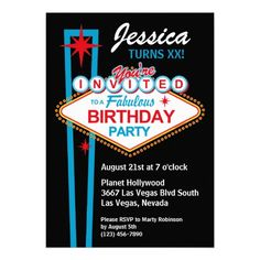Las Vegas Birthday Party Invitation